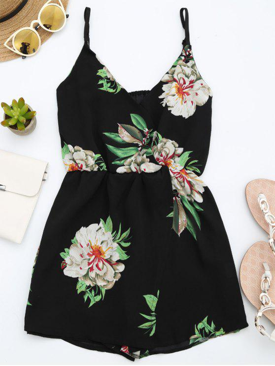 Combishorts à bretelle multicouche imprimé de motif floral - Noir S