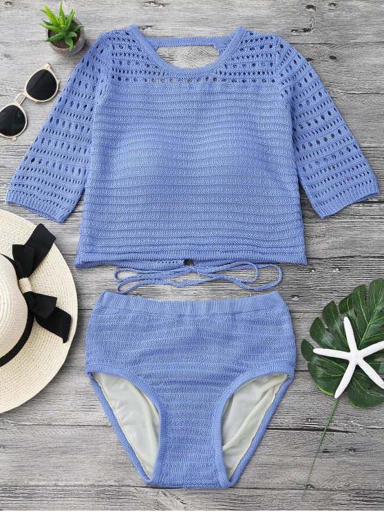 ladies Padded Crochet Crop Top and Bikini Bottoms - BLUE ONE SIZE