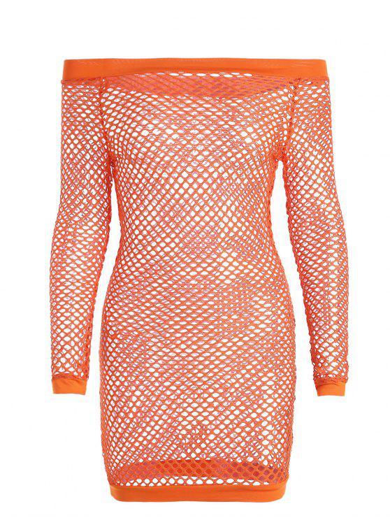 De hombro pescado playa cubrir hasta el vestido - Naranja M
