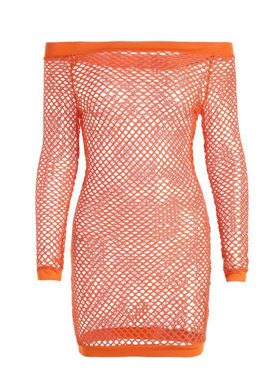sale Off Shoulder Fishnet Beach Cover Up Dress - ORANGE S