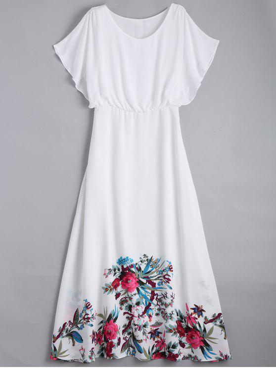 hot Floral Flonuces Maxi Chiffon Dress - WHITE L