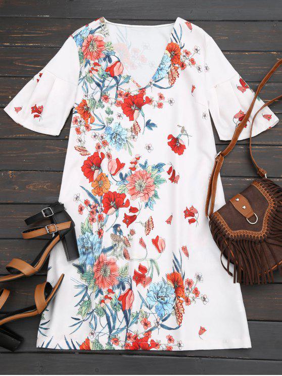Robe Droite Florale à Manches Papillon - Floral S