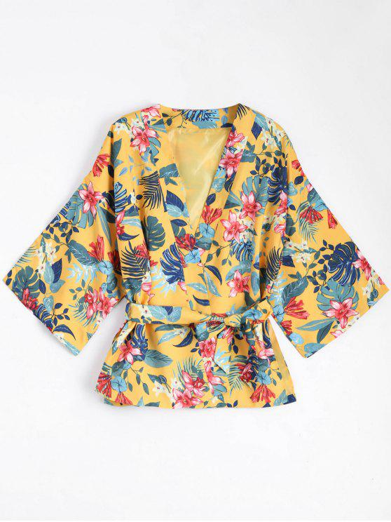 affordable Belted Floral Kimono Blouse Coat - YELLOW L