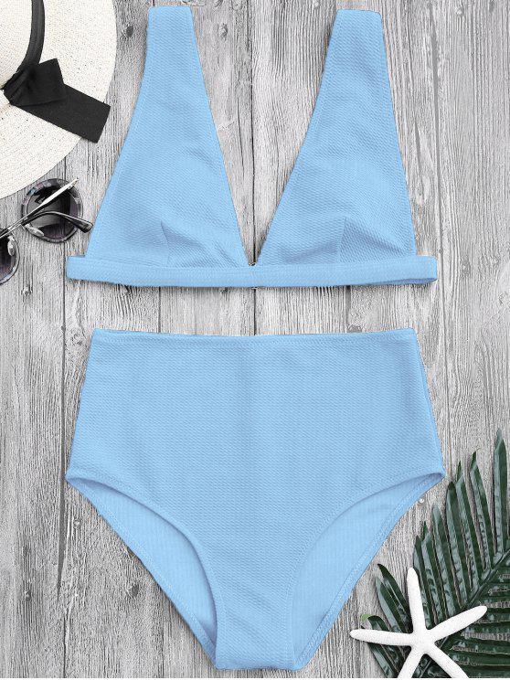 fancy Textured Plunge High Waisted Bikini Set - LIGHT BLUE S