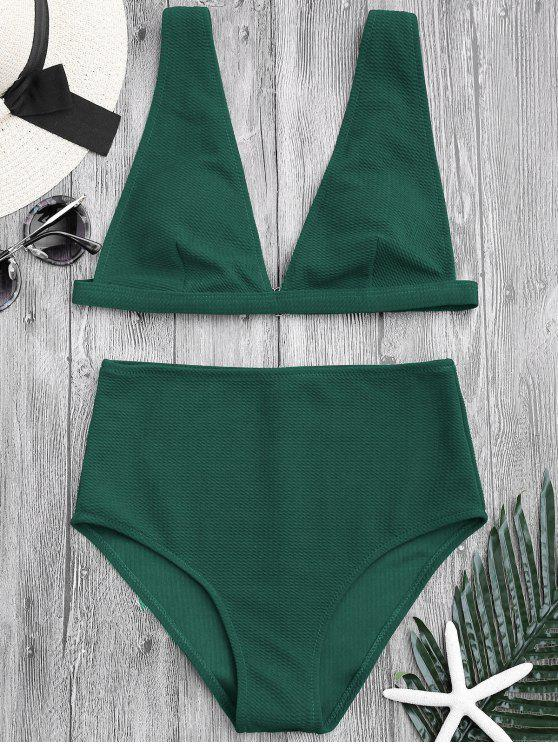 latest Textured Plunge High Waisted Bikini Set - GREEN M