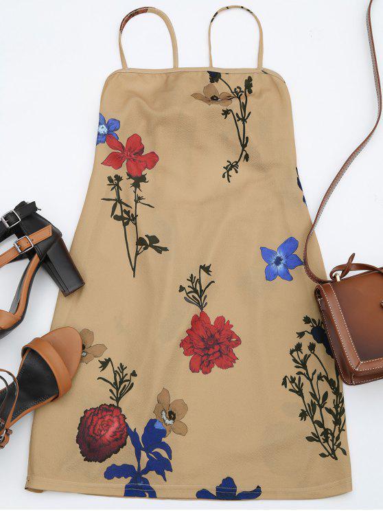 Rückenfreies Cami Kleid mit Blumen - Blumen S