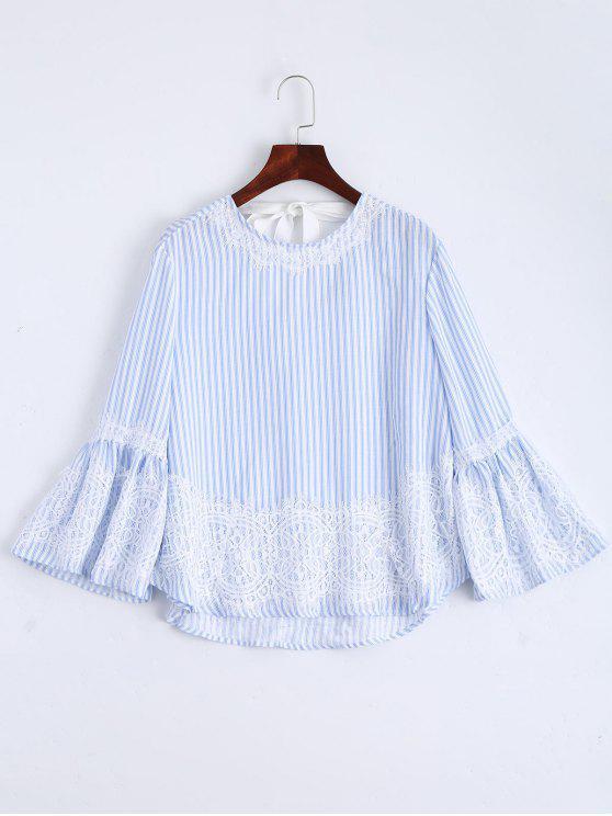 fashion Flare Sleeve Stripes Lace Panel Blouse - STRIPE L