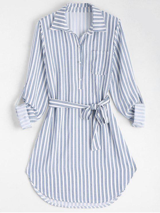 hot Belted Striped Long Sleeve Shirt Dress - STRIPE XL