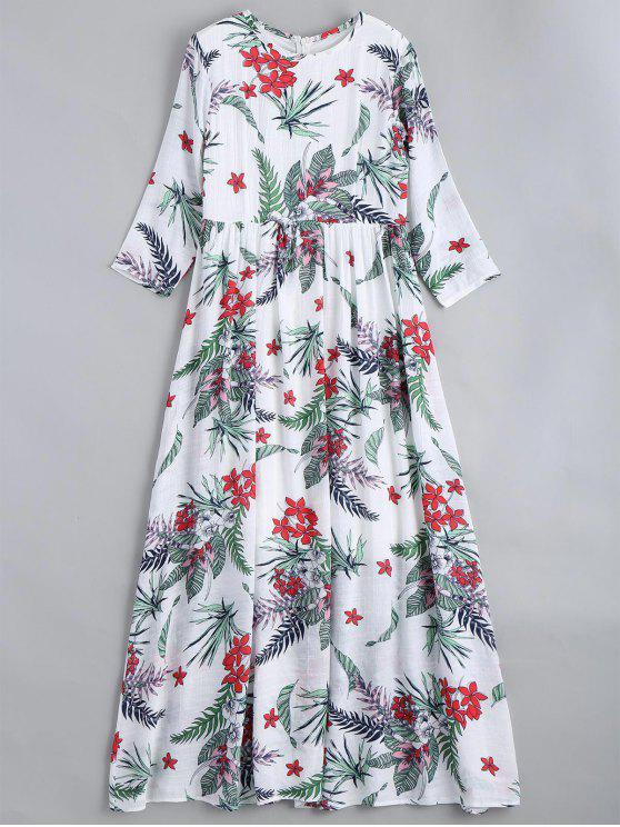 women's Three Quarter Sleeve Floral Print Maxi Dress - FLORAL XL