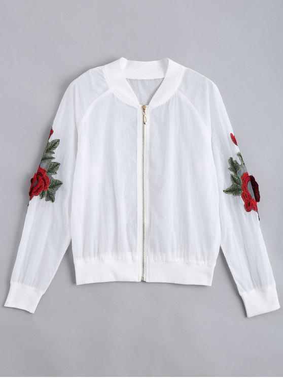 hot Floral Patched Zip Up Jacket - WHITE S