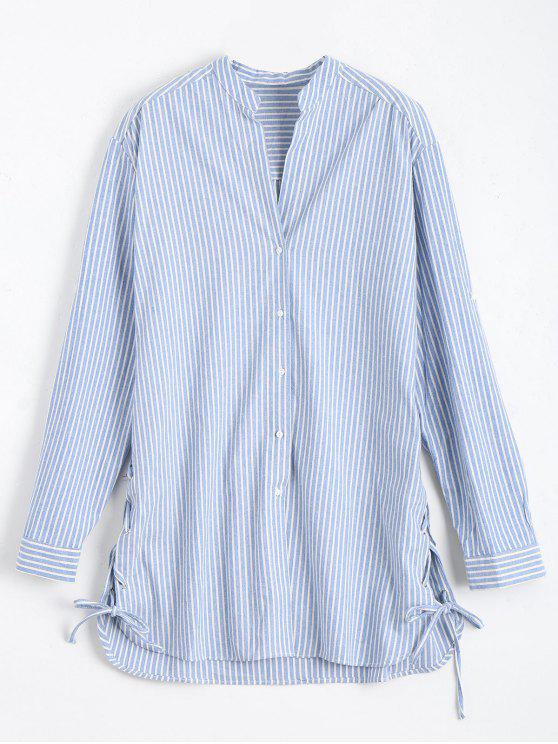 new Longline Side Lace Up Striped Boyfriend Shirt - BLUE AND WHITE L
