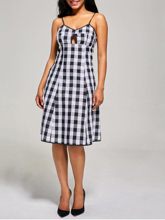 shop Empire Waist Hollow Out Tartan Cami Dress - BLACK WHITE L