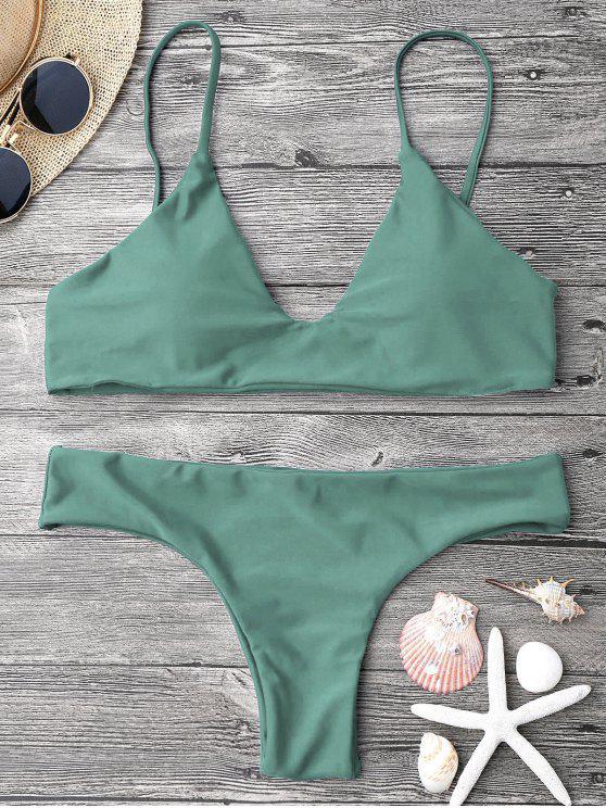 women's Adjustable Straps Padded Bralette Bikini Set - ARMY GREEN L