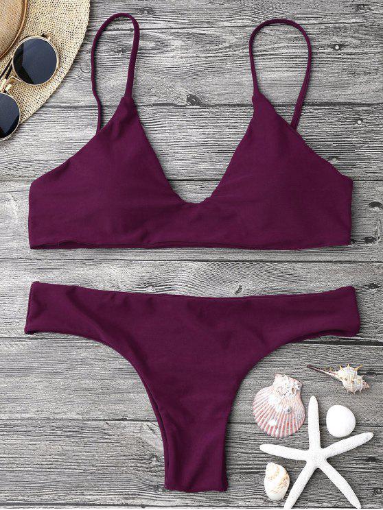 shop Adjustable Straps Padded Bralette Bikini Set - MERLOT S
