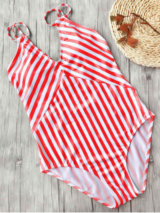 women Slimming Striped Strappy One Piece Swimsuit - RED AND WHITE S