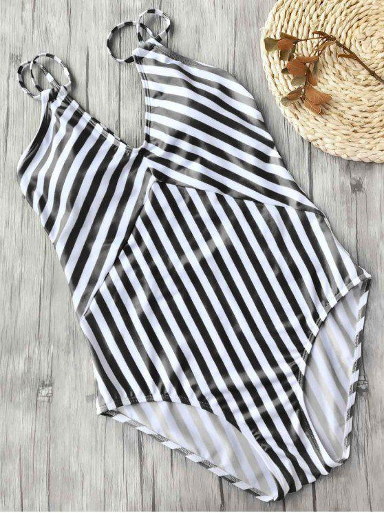 unique Slimming Striped Strappy One Piece Swimsuit - WHITE AND BLACK L
