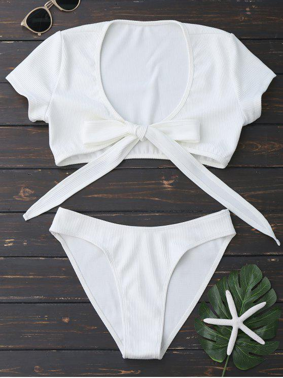 latest Knot Front High Cut Bathing Suit - WHITE M