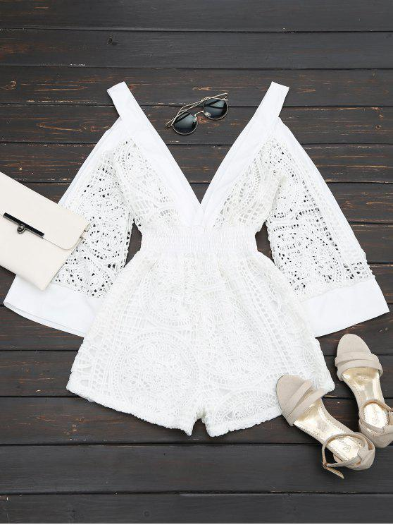 fashion Plunging Neck Cold Shoulder Hollow Out Romper - WHITE M
