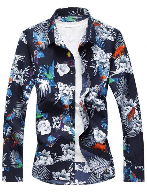 الحيوان الأزهار المطبوعة قميص طويل الأكمام - اللؤلؤ الأزرق النيلي 5XL