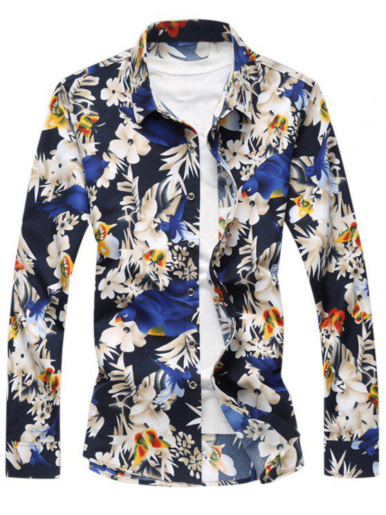 طيور الأزهار طباعة قميص عارضة - أزرق 2XL