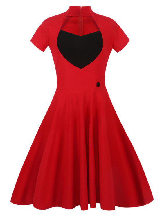 123ec9263d05 32% OFF] 2019 Sweetheart Front 50s Vintage Swing Dress In RED | ZAFUL