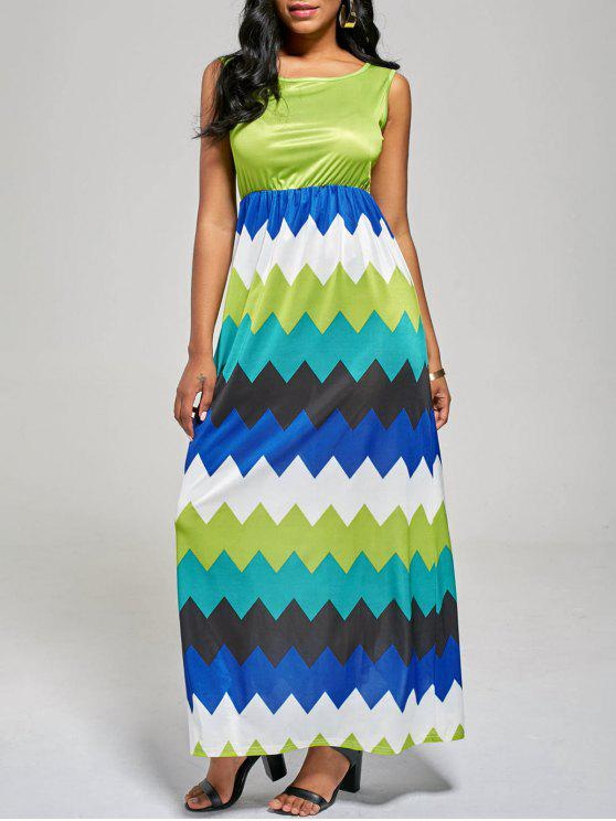 بلا أكمام منعرج الزاك كتلة اللون فستان طويل - مكان صنع المال XL