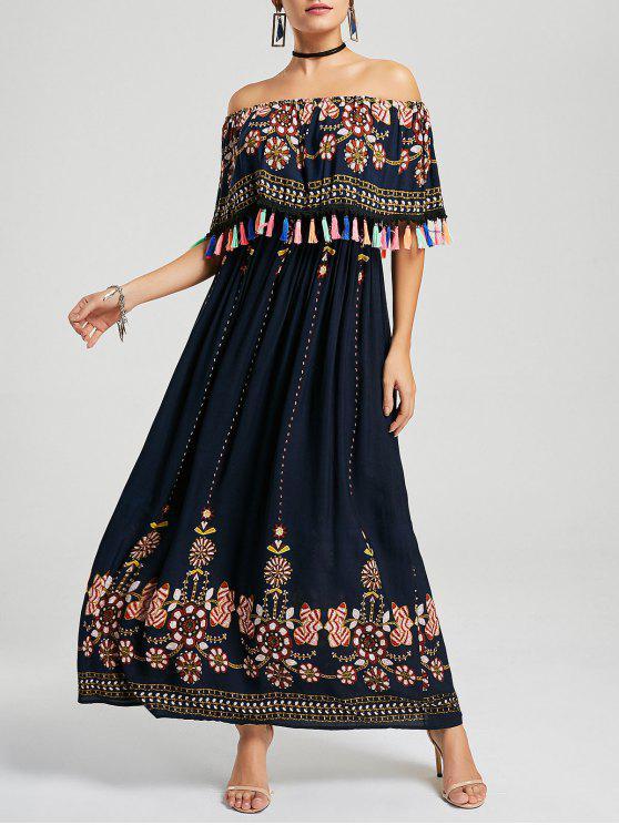 فستان بوهيمي مطرز شرابة بلا اكتاف - الأرجواني الأزرق M