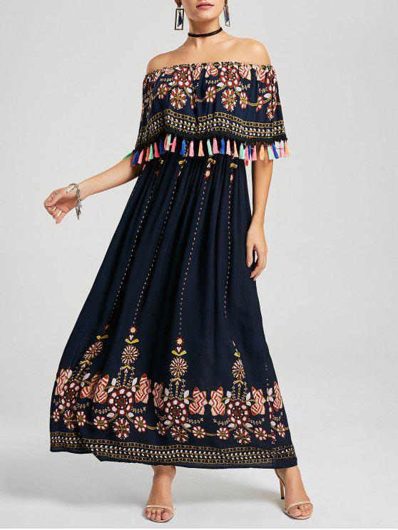 الشرابة قبالة الكتف بوهو فستان ماكسي - الأرجواني الأزرق XL