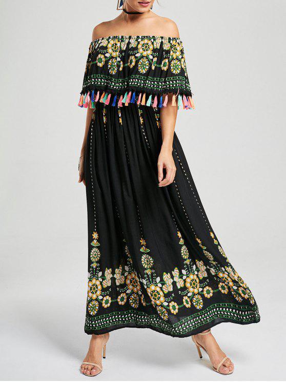 فستان بوهيمي مطرز شرابة بلا اكتاف - أسود S