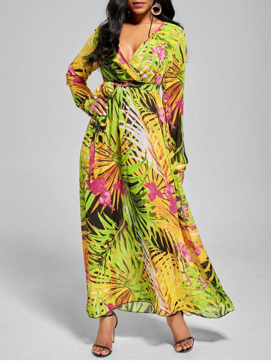 فستان ماكسي شيفون مع أكمام الرقبة V - أخضر M