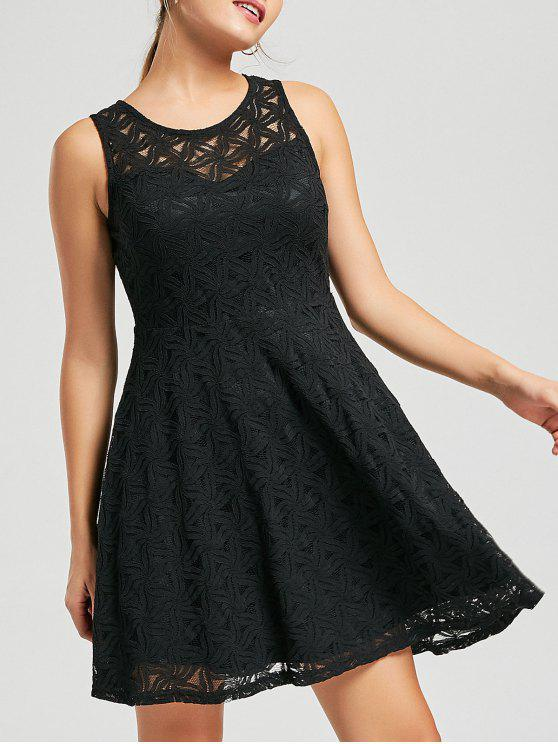 فستان متزلج سهرة دانتيل بلا أكمام مصغر - أسود 2XL