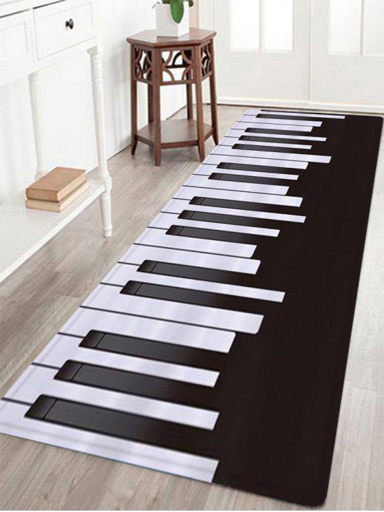 بساط بنمط بيانو بخاصية ماصة للمياه - أسود أبيض W16 بوصة * L47 بوصة