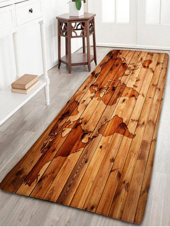 عدم الانزلاق الفانيلا خمر الخشب الحبوب خريطة البساط - BROWN W16 بوصة * L47 بوصة