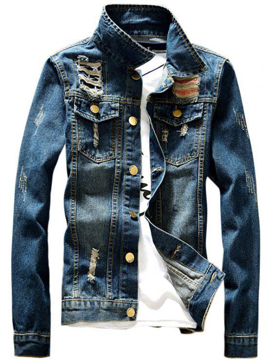 جاكيت دانيم تصميم جيب الجبهة - ازرق L