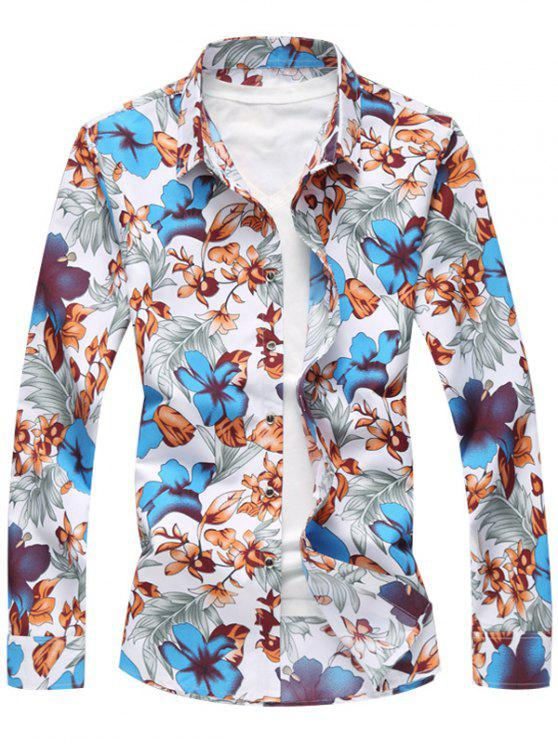 جميع الأزهار المطبوعة عارضة قميص طويل الأكمام - أزرق 3XL