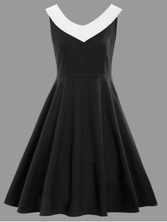 27% OFF] 2019 Sleeveless A Line Plus Size Vintage Dress In BLACK | ZAFUL