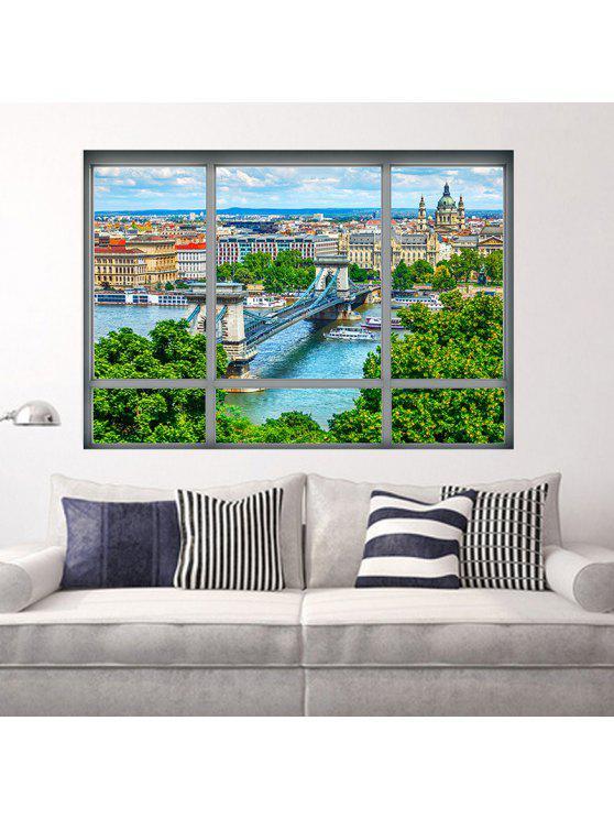 3d نافذة النافذة منظر المدينة للإزالة جدار الفن ملصق - مزيج ملون 48.5 * 68CM