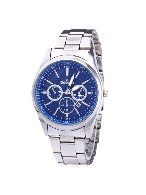 OUKESHI ساعة شريطها بخليط معدني - الفضة والأزرق