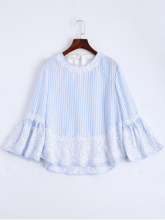 Flare Sleeve Stripes Lace Panel Blouse - Listras M