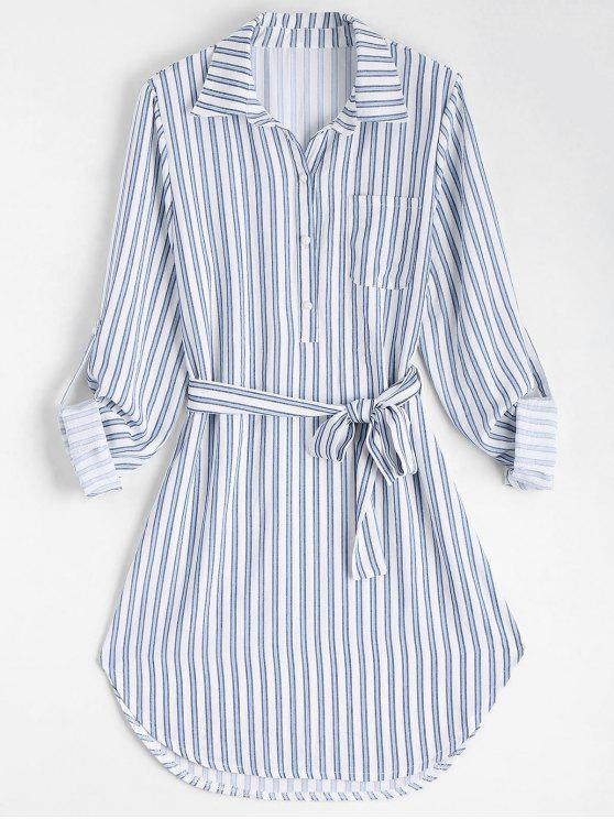 best Belted Striped Long Sleeve Shirt Dress - STRIPE S