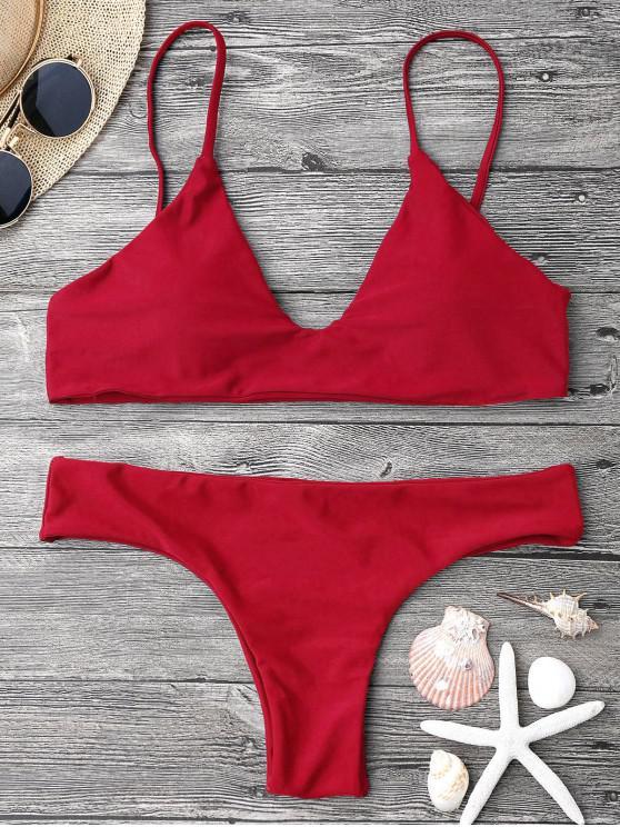 Correa ajustable acolchada de bikini Bralette - Rojo L