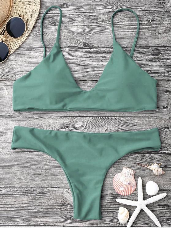 Conjunto de biquíni com bojo e alças ajustáveis - Exército verde M