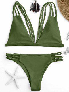 Low Cut Strappy Bralette Bikini - Green S
