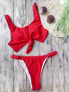 Adjustable Textured Knotted Bralette Bikini Set - Red M