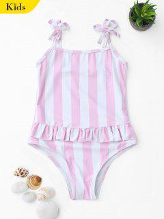 Bow Straps Striped Kids One Piece Swimsuit - Pink And White 5t