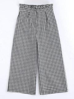 Plaid Ruffles Wide Leg Pants - Checked M