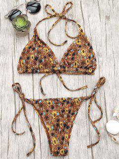 Floral Adjustable Tie Smocked String Bikini Set - Floral S