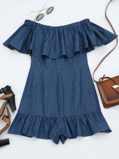 Off The Shoulder Flounce Denim Romper - Denim Blue M