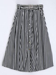 Single Breasted Belted Striped Tea Length Skirt - White And Black S