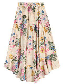Ruffles Floral Drawstring Midi Skirt - Floral M